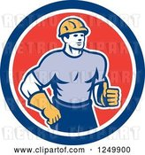 Vector Clip Art of Retro Male Construction Worker Holding a Thumb up in a Circle by Patrimonio