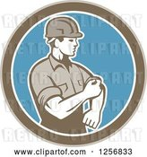 Vector Clip Art of Retro Male Construction Worker Rolling up His Sleeve in a Brown White and Blue Circle by Patrimonio