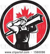 Vector Clip Art of Retro Male Construction Worker Shielding His Eyes and Carrying a Beam in a Canadian Flag Circle by Patrimonio