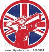 Vector Clip Art of Retro Male Construction Worker Shielding His Eyes and Carrying a Beam in a Union Jack Flag Circle by Patrimonio