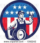 Vector Clip Art of Retro Male Construction Worker Toasting and Carrying a Beer Keg in an American Circle by Patrimonio