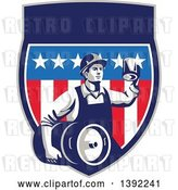 Vector Clip Art of Retro Male Construction Worker Toasting and Carrying a Beer Keg in an American Shield by Patrimonio