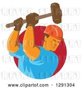 Vector Clip Art of Retro Male Construction Worker Using a Sledgehammer and Emerging from a Red Circle by Patrimonio