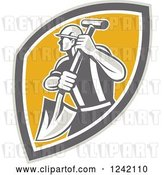 Vector Clip Art of Retro Male Construction Worker with a Shovel in a Shield by Patrimonio