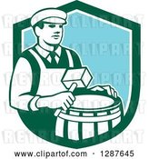 Vector Clip Art of Retro Male Cooper Barrel Maker Holding a Mallet over a Drum in a Green White and Blue Shield by Patrimonio