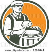 Vector Clip Art of Retro Male Cooper Barrel Maker Holding a Mallet over a Drum in a Green White and Orange Circle by Patrimonio