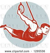 Vector Clip Art of Retro Male Crossfit Athlete or Gymnast on Still Rings in a Circle by Patrimonio