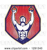 Vector Clip Art of Retro Male Crossfit Athlete or Gymnast with Rings in a Shield of Rays by Patrimonio