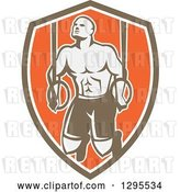 Vector Clip Art of Retro Male Crossfit or Gymnast Athlete Doing Kipping Pull Ups on Still Rings in a Brown White and Orange Shield by Patrimonio