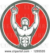 Vector Clip Art of Retro Male Crossfit or Gymnast Athlete Doing Kipping Pull Ups on Still Rings in a Green White and Red Circle by Patrimonio