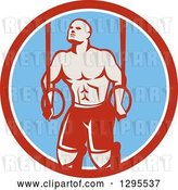 Vector Clip Art of Retro Male Crossfit or Gymnast Athlete Doing Kipping Pull Ups on Still Rings in a Red White and Blue Circle by Patrimonio