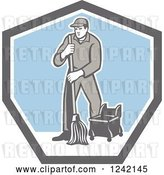 Vector Clip Art of Retro Male Custodian Janitor in a Shield by Patrimonio