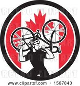 Vector Clip Art of Retro Male Cyclist Carrying a Bicycle on His Back in a Canadian Flag Circle by Patrimonio