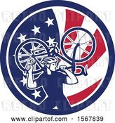 Vector Clip Art of Retro Male Cyclist Carrying a Bicycle on His Back in an American Flag Circle by Patrimonio