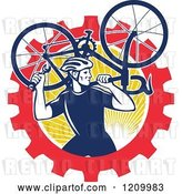 Vector Clip Art of Retro Male Cyclist Carrying a Bicycle over a Gear and Sun Circle by Patrimonio