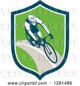 Vector Clip Art of Retro Male Cyclist in a Blue White and Green Shield by Patrimonio