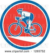 Vector Clip Art of Retro Male Cyclist in a Blue White and Red Circle by Patrimonio