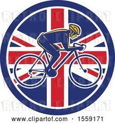 Vector Clip Art of Retro Male Cyclist in a British Flag Circle by Patrimonio
