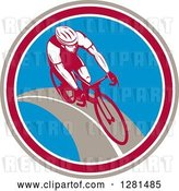 Vector Clip Art of Retro Male Cyclist in a Taupe Maroon White and Blue Circle by Patrimonio