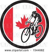 Vector Clip Art of Retro Male Cyclist Riding a Bicycle in a Canadian Flag Circle by Patrimonio