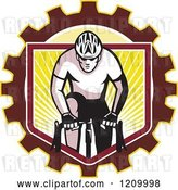 Vector Clip Art of Retro Male Cyclist Riding over a Gear Shield of Rays by Patrimonio