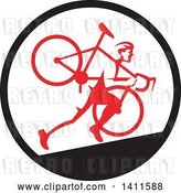 Vector Clip Art of Retro Male Cyclocross Athlete Running and Carrying Bicycle on His Shoulders in a Black White and Red Circle by Patrimonio