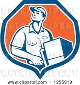 Vector Clip Art of Retro Male Delivery Guy Delivering in a Shield by Patrimonio
