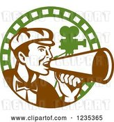 Vector Clip Art of Retro Male Director Using a Bullhorn in a Film Strip Circle by Patrimonio