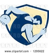 Vector Clip Art of Retro Male Discus Thrower Emerging from a Blue White and Yellow Shield by Patrimonio
