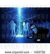 Vector Clip Art of Retro Male Dj and Silhouetted Dancers in Blue Tones, with Stars Shining down by Dero