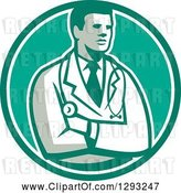 Vector Clip Art of Retro Male Doctor or Veterinarian with Folded Arms in a Green and White Circle by Patrimonio