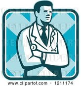 Vector Clip Art of Retro Male Doctor Standing with Folded Arms over a Square by Patrimonio