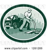 Vector Clip Art of Retro Male Drain Cleaner Worker Guy in a Green Oval by Patrimonio