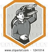 Vector Clip Art of Retro Male Electrician Carrying a Plug in a Gray and Orange Shield by Patrimonio