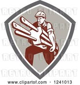 Vector Clip Art of Retro Male Electrician Carrying a Plug in a Shield by Patrimonio