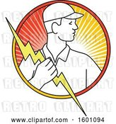 Vector Clip Art of Retro Male Electrician Holding a Bolt in a Circle by Patrimonio