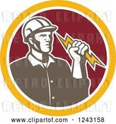 Vector Clip Art of Retro Male Electrician Holding a Bolt in a Red and Yellow Circle by Patrimonio
