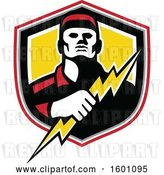 Vector Clip Art of Retro Male Electrician Holding a Bolt in a Shield by Patrimonio
