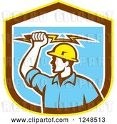 Vector Clip Art of Retro Male Electrician Holding a Bolt over a Shield by Patrimonio