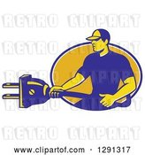 Vector Clip Art of Retro Male Electrician Holding a Giant Plug and Emerging from a Blue White and Yellow Oval by Patrimonio