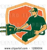 Vector Clip Art of Retro Male Electrician Holding a Giant Plug in an Orange and White Shield by Patrimonio