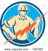 Vector Clip Art of Retro Male Electrician Holding a Lightning Bolt in a Blue and White Circle by Patrimonio