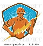 Vector Clip Art of Retro Male Electrician Holding a Lightning Bolt in a Brown White and Blue Sunshine Shield by Patrimonio