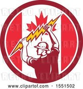 Vector Clip Art of Retro Male Electrician Holding a Lightning Bolt in a Canadian Flag Circle by Patrimonio