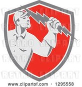Vector Clip Art of Retro Male Electrician Holding a Lightning Bolt in a Gray White and Red Shield by Patrimonio