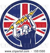Vector Clip Art of Retro Male Electrician Holding a Lightning Bolt in a Union Jack Flag Circle by Patrimonio