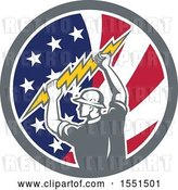 Vector Clip Art of Retro Male Electrician Holding a Lightning Bolt in an American Flag Circle by Patrimonio