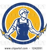 Vector Clip Art of Retro Male Electrician Holding Bolts in a Circle by Patrimonio