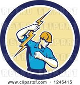 Vector Clip Art of Retro Male Electrician Holding up a Bolt in a Blue and Yellow Circle by Patrimonio