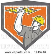 Vector Clip Art of Retro Male Electrician Holding up a Bolt in a Gray and Orang Shield by Patrimonio